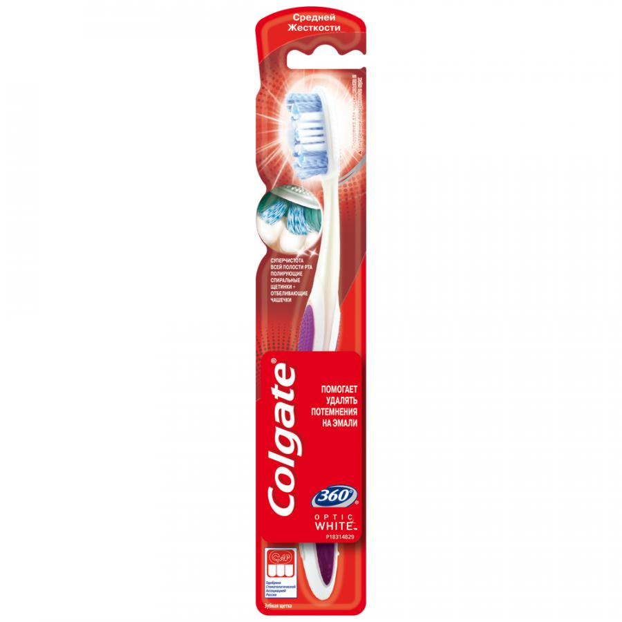Зубная щётка Colgate 360 optic white  средней жёсткости 007552